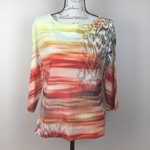 Chico's Size M Embellished Sunset 3/4 Sleeve Top
